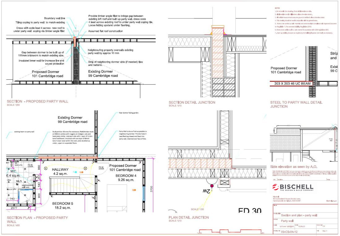Party wall section and plan drawings bischell for Party wall section